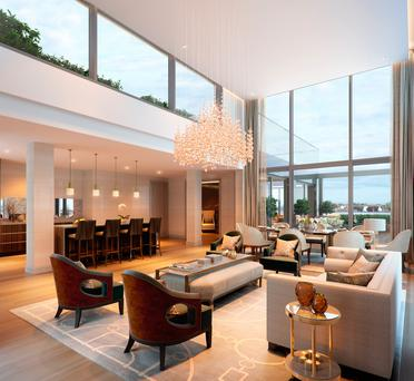 The interior and exterior of the luxury apartment in Dublin 4