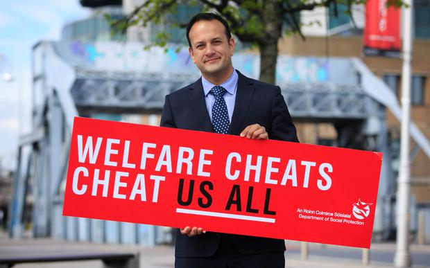 Then Minister for Social Protection Leo Varadkar at the campaign at The Sean O'Casey Bridge, Dublin in April this year Photo: Gareth Chaney Collins