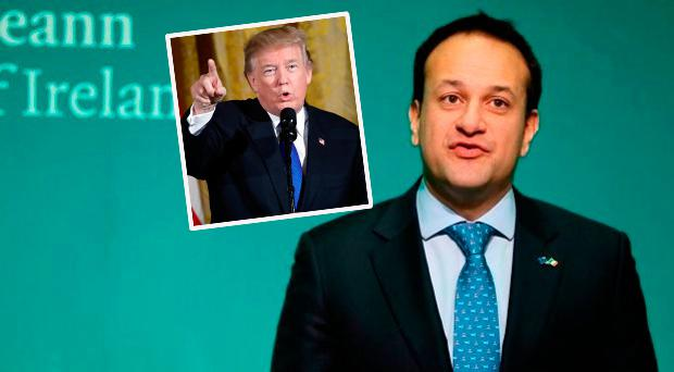 Leo Varadkar and (inset) Donald Trump