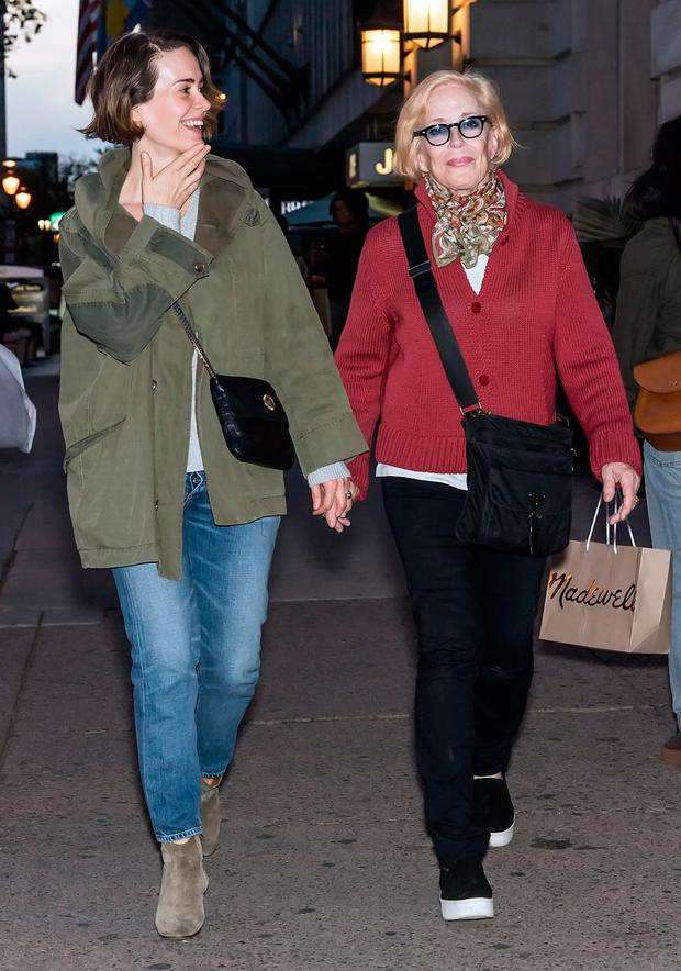 Actresses Sarah Paulson and Holland Taylor are seen out and about on October 21, 2017 in Philadelphia, Pennsylvania. (Photo by Gilbert Carrasquillo/GC Images)