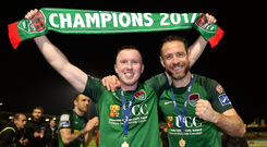 27 October 2017; Stephen Dooley, left, and Alan Bennett celebrate with the SSE Airtricity League Premier Division trophy after the SSE Airtricity League Premier Division match between Cork City and Bray Wanderers at Turners Cross, in Cork. Photo by Seb Daly/Sportsfile