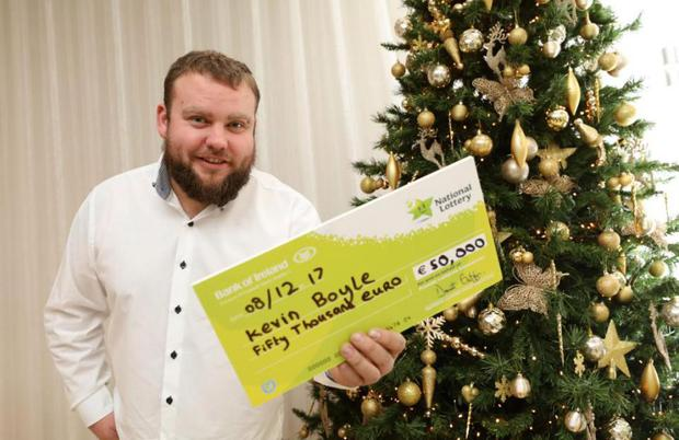 Kevin Boyle collected his winnings at Lotto headquarters today