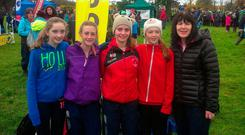 Catherine Duggan (far right) with the Bandon girls' U-14 team at the National Inter-County Cross-Country in 2013. Laura Nicholson is second from left