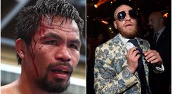Manny Pacquiao (left) and Conor McGregor (right).