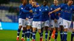 Jack Byrne of Oldham Athletic celebrates