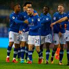 Jack Byrne of Oldham Athletic celebrates after scoring his second