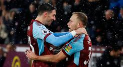 Burnley's Scott Arfield celebrates scoring their first goal with Stephen Ward