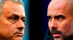 Manchester United manager Jose Mourinho and Manchester City manager Pep Guardiola. Photo by Laurence Griffiths/Getty Images
