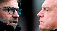 Liverpool manager Jurgen Klopp and Everton manager Sam Allardyce. Photo by Chris Brunskill/Getty Images