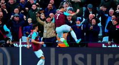 West Ham's Marko Arnautovic celebrates after scoring the only goal of the game against Chelsea yesterday. Photo: Dan Mullan/Getty Images