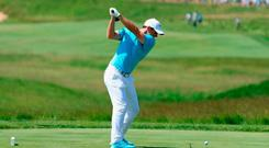 Rory McIlroy hits a drive from the first tee at this year's US Open at Erin Hills, a course that played into the hands of big hitters. Photo: Richard Heathcote/Getty Images