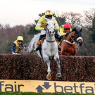 Harry Cobden and Politologue clear the last to win The betfair Tingle Creek Chase at Sandown. Photo: Getty Images