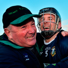 David Collins celebrates with his father Dermot after Liam Mellows won the Galway senior hurling championship last Sunday. Photo: Sportsfile