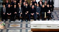 The funeral ceremony for late French singer Johnny Hallyday at the Eglise de la Madeleine (La Madeleine Church) in Paris. Photo: Getty Images