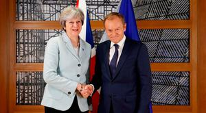 British Prime Minister Theresa May and European Council President Donald Tusk