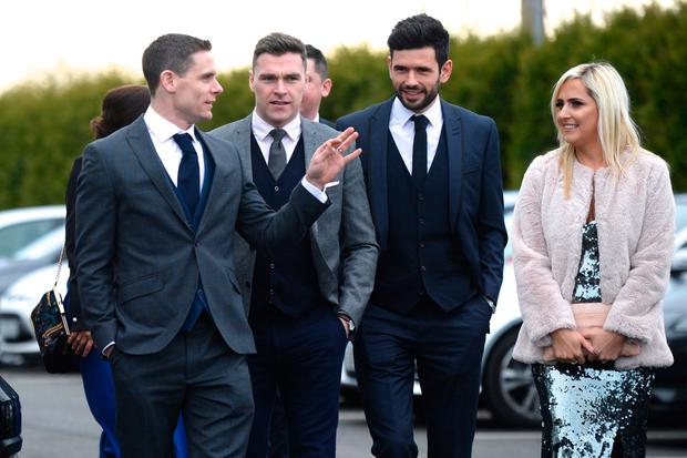 09/12/17. Stephen Cluxton, Paddy Andrews and Cian O'Sullivan arriving to the wedding of Paul Flynn and Fiona Hudson in Co.Cavan. Pic: Justin Farrelly.
