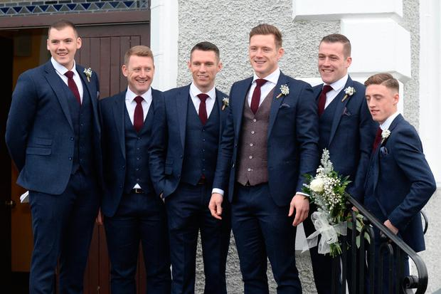 09/12/17. Paul Flynn and best man Darren Daly arriving to the wedding of Paul Flynn and Fiona Hudson in Co.Cavan. Pic: Justin Farrelly.