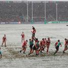 General view of action between Harlequins and Ulster