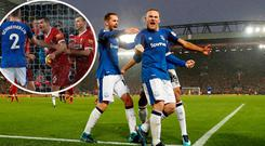 Wayne Rooney celebrates and (inset) Lovren rages at ref