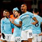Manchester City's Fabian Delph celebrates after the match after his side secure a 2-1 win at Old Trafford REUTERS/Darren Staples