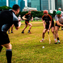 Referee Fergal Horgan throws in the sliotar between Conor Whelan and James Barry during the PwC All Star Tour at the Singapore Recreation Club. Photo: Ray McManus/Sportsfile