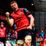 Munster's Peter O'Mahony celebrates after scoring his side's third try during their Champions Cup clash at Thomond Park. Photo: Sportsfile