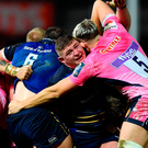 Tadhg Furlong of Leinster get involved in a maul with Jonny Hill of Exeter Chiefs. Photo: Sportsfile