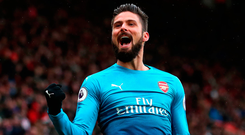 Olivier Giroud celebrates after scoring Arsenal's late equaliser. Photo: Getty Images
