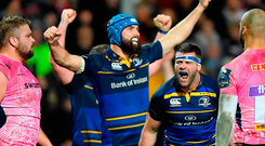 Fergus McFadden, right, and Scott Fardy of Leinster celebrate the try of team-mate Jack Conan. Photo: Sportsfile