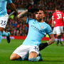 Manchester City's Nicolas Otamendi celebrates his winning goal at Ol Trafford Photo: AP