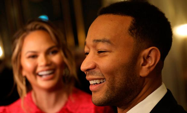 John Legend and his wife Chrissy Teigen arrive at Nobel Prize Banquet at the Grand Hotel in Oslo, Norway December 10, 2017. NTB Scanpix/Lise Aserud via REUTERS