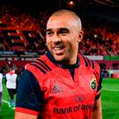 Simon Zebo after the European Rugby Champions Cup Pool 4 Round 3 match between Munster and Leicester Tigers at Thomond Park in Limerick. Photo by Diarmuid Greene/Sportsfile
