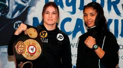 Katie Taylor (left) and Jessica McCaskill during a press conference at The Courthouse Hotel, London