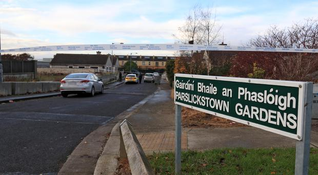 Gardai at the scene of an alleged shooting in Parlickstown Gardens Picture Colin Keegan, Collins Dublin.