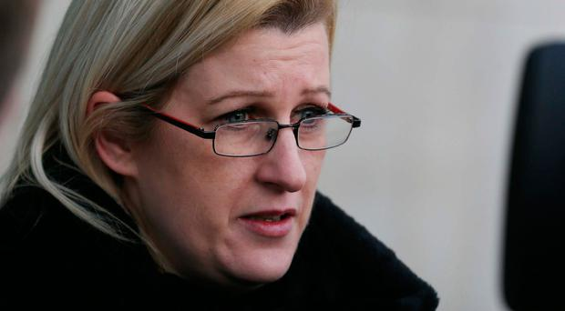 Susan Walmsley pictured speaking outside Dublin Circuit Courts this afternoonÉPic Collins Courts