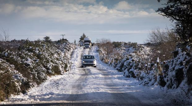 Snow-ice warning in place for entire country for two days as strong winds are also forecast