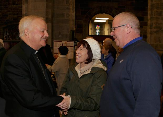 Dr Brendan Kelly is congratulated after his appointment as Bishop of Galway. Photo: Andrew Downes, xposure