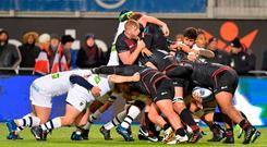 Clermont and Saracens players drive against each other in a maul. Photo: Getty Images