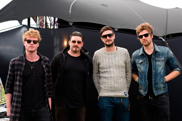 (L-R) Steve Garrigan, Jason Boland, Vinny May and Mark Prendergast of Kodaline pose of photographs on Sony's Xperia Access acoustic stage in the Virgin Media Louder Lounge