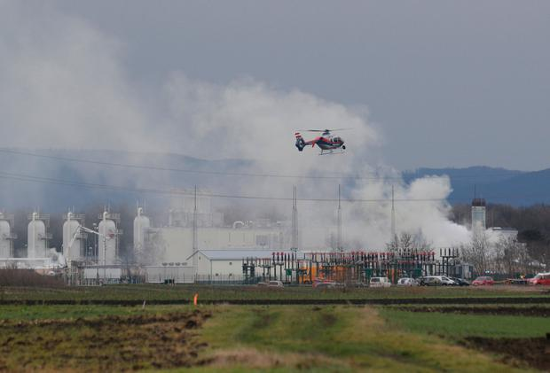 Smoke rises from Austria's largest natural gas import and distribution station after a gas explosion in Baumgarten Austria