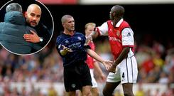 Keane and Vieira vbattle and (inset) Mourinho and Guardiola