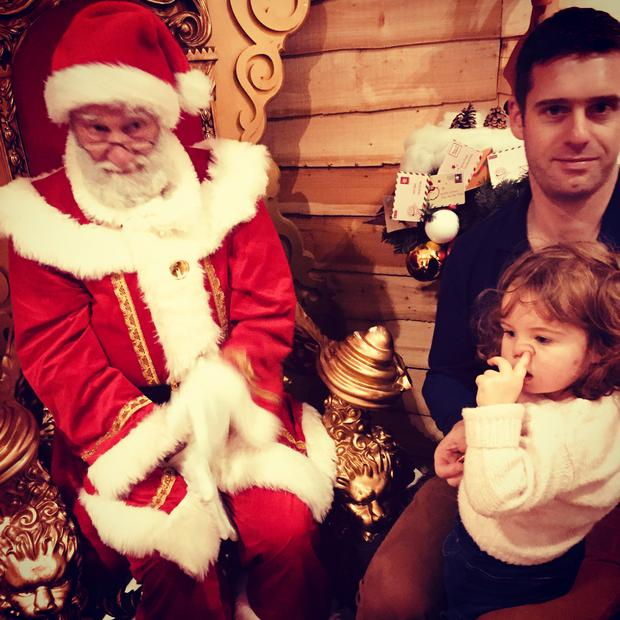 Elsa Barkman, and her Eric Barkman pictured on their family's visit to see santa. Mum, Suzanne said