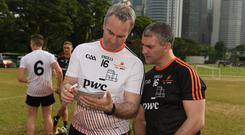 The two managers Michael Ryan, left, of the 2016 PwC All Star Team and Liam Sheedy of the 2017 PwC All Star Team before the PwC All Star Tour 2017 - All Star Hurling game at the Singapore Recreation Club, The Padang, in Singapore. Photo: Ray McManus/Sportsfile