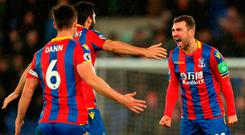 LONDON, ENGLAND - DECEMBER 12: James McArthur of Crystal Palace celebrates after scoring his sides second goal with teammates during the Premier League match between Crystal Palace and Watford at Selhurst Park on December 12, 2017 in London, England. (Photo by Catherine Ivill/Getty Images)