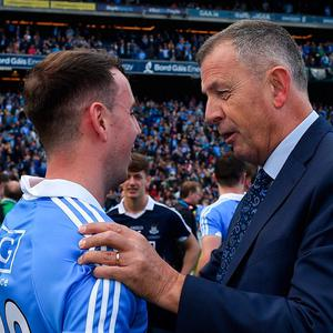 Dublin's Cormac Costello celebrates with his father, Dublin County Board CEO John, after this year's All-Ireland SFC final win in Croke Park.. Photo: Ramsey Cardy/Sportsfile