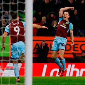 Ashley Barnes celebrates his late winner that sent Burnley into fourth spot in the Premier League table. Photo: REUTERS