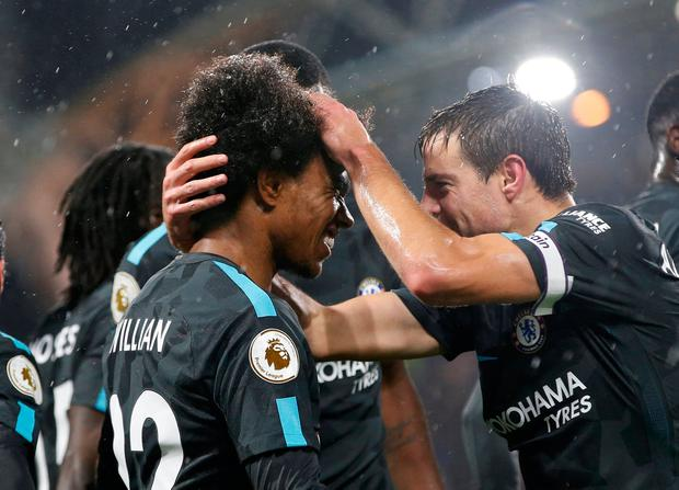 Chelsea's Willian celebrates scoring their second goal with team mates. Photo: REUTERS