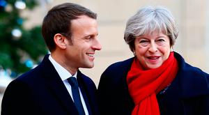 British Prime Minister Theresa May with French President at the Elysée Palace, Paris, yesterday. Photo: AP
