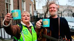 Singer Glen Hansard with homeless campaigner Sheila O'Byrne ahead of the protest concert in Dublin yesterday