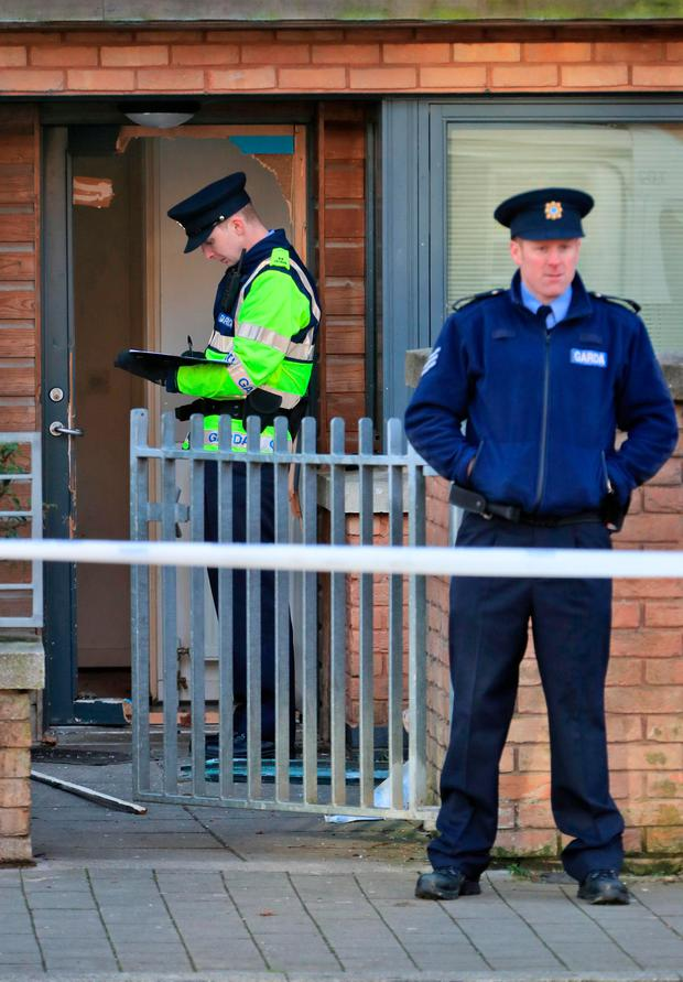 Gardai at the scene of the incident in Barnwell Drive
